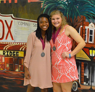 Juniors Carly Platt and Tanasia Whitlock  at 2016 Academic Awards