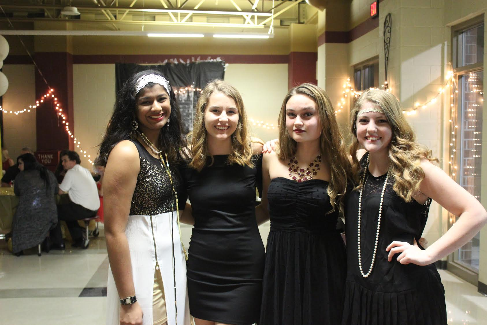 Left to Right: Calysta Sylvester(Junior), Kelsey Hearing (Junior) Megan (Junior), Kylee Brooks (Junior) at the Homecoming Dance