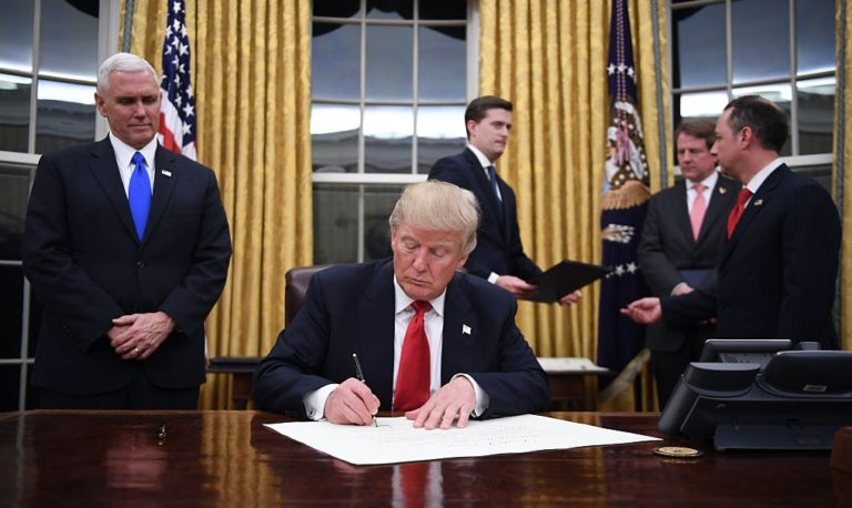 President+Donald+Trump+Signing+Executive+Orders