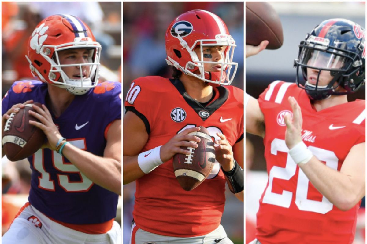 on the left Hunter Johnson who transfer after 1 year. In the middle Jacob Eason transferred after 2 years. On the right Shea Patterson transferred after one year.