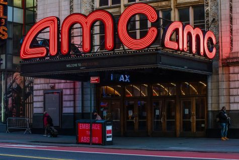 An AMC Theater in Times Square is closed for business on Friday, March 2020 in New York, NY. The city officially announced the closure of all non-essential businesses and implemented a lockdown last week. Photo by Erin Lefevre for Nur Photo. (Photo by Erin Lefevre/NurPhoto via Getty Images)